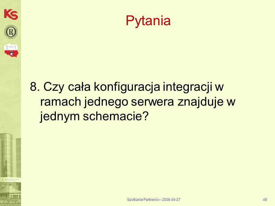 Spotkanie Partnerów - 2008-04-2748 Pytania 8. Czy cała konfiguracja integracji w ramach jednego serwera znajduje w jednym schemacie?