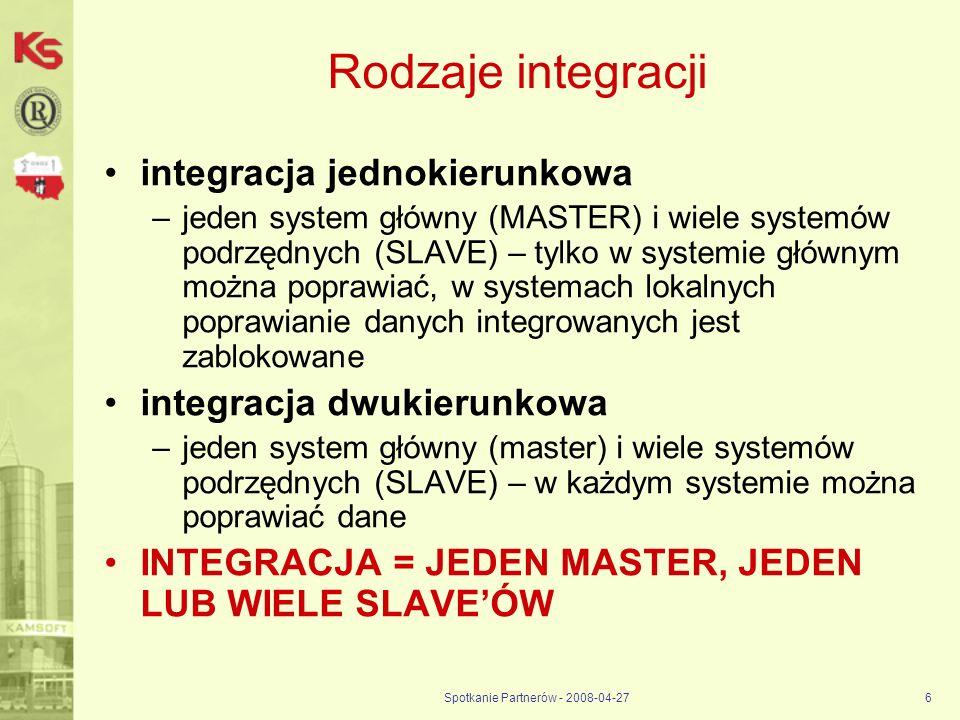 Spotkanie Partnerów - 2008-04-276 Rodzaje integracji integracja jednokierunkowa –jeden system główny (MASTER) i wiele systemów podrzędnych (SLAVE) – t
