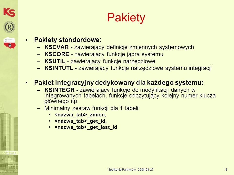 Spotkanie Partnerów - 2008-04-278 Pakiety Pakiety standardowe: –KSCVAR - zawierający definicje zmiennych systemowych –KSCORE - zawierający funkcje jąd