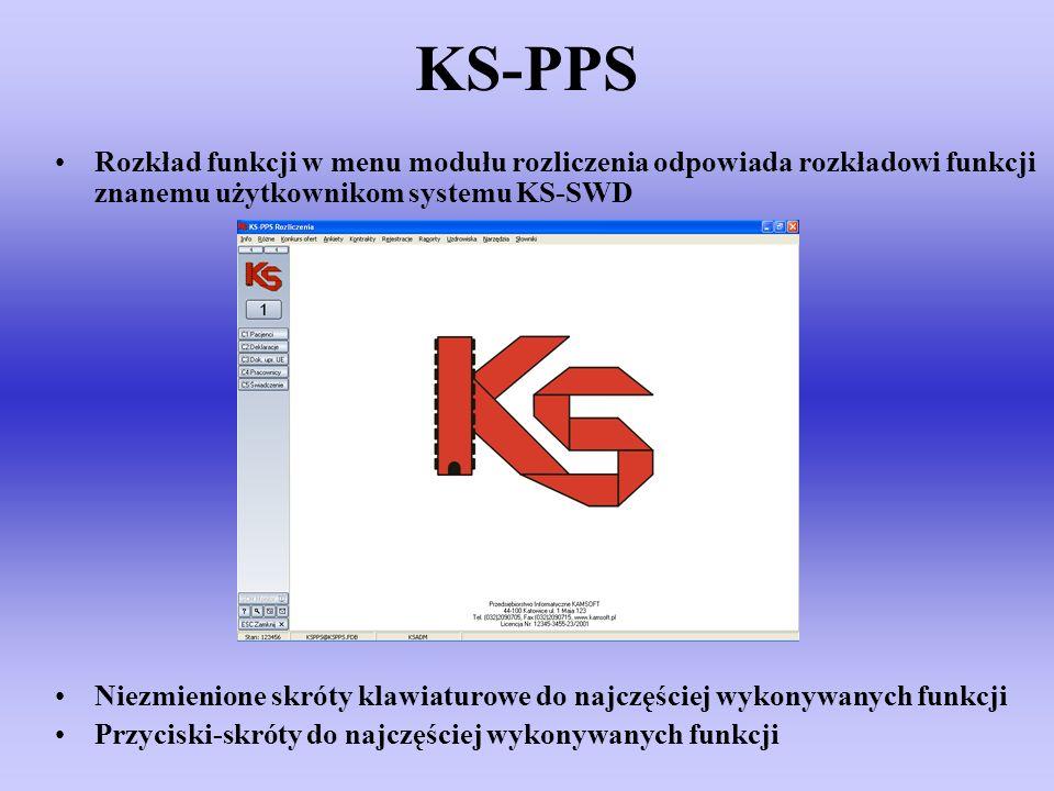 KS-PPS Rozkład funkcji w menu modułu rozliczenia odpowiada rozkładowi funkcji znanemu użytkownikom systemu KS-SWD Niezmienione skróty klawiaturowe do