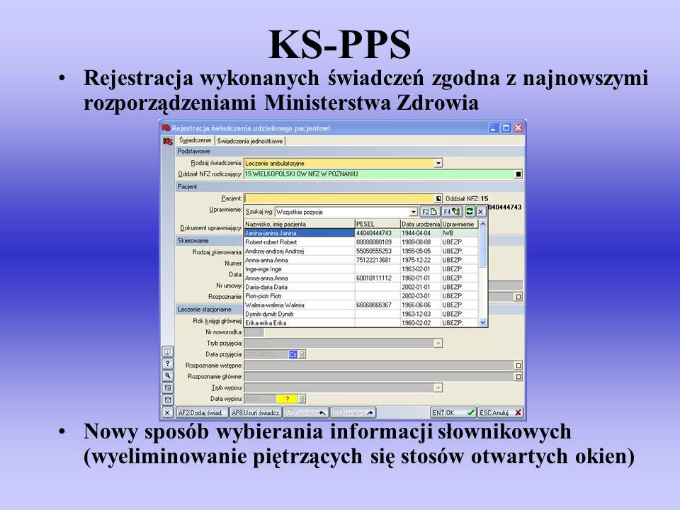KS-PPS Rejestracja wykonanych świadczeń zgodna z najnowszymi rozporządzeniami Ministerstwa Zdrowia Nowy sposób wybierania informacji słownikowych (wye