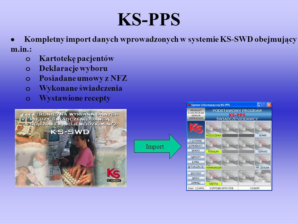 KS-PPS Kompletny import danych wprowadzonych w systemie KS-SWD obejmujący m.in.: o Kartotekę pacjentów o Deklaracje wyboru o Posiadane umowy z NFZ o W