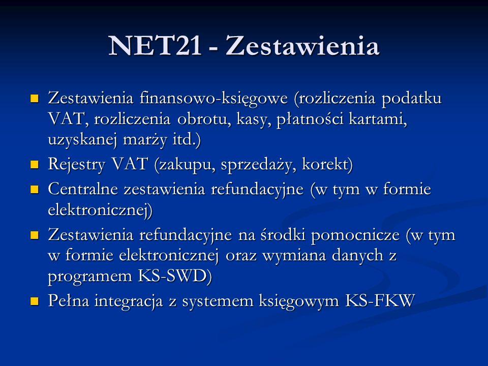 NET21 - Zestawienia Zestawienia finansowo-księgowe (rozliczenia podatku VAT, rozliczenia obrotu, kasy, płatności kartami, uzyskanej marży itd.) Zestawienia finansowo-księgowe (rozliczenia podatku VAT, rozliczenia obrotu, kasy, płatności kartami, uzyskanej marży itd.) Rejestry VAT (zakupu, sprzedaży, korekt) Rejestry VAT (zakupu, sprzedaży, korekt) Centralne zestawienia refundacyjne (w tym w formie elektronicznej) Centralne zestawienia refundacyjne (w tym w formie elektronicznej) Zestawienia refundacyjne na środki pomocnicze (w tym w formie elektronicznej oraz wymiana danych z programem KS-SWD) Zestawienia refundacyjne na środki pomocnicze (w tym w formie elektronicznej oraz wymiana danych z programem KS-SWD) Pełna integracja z systemem księgowym KS-FKW Pełna integracja z systemem księgowym KS-FKW