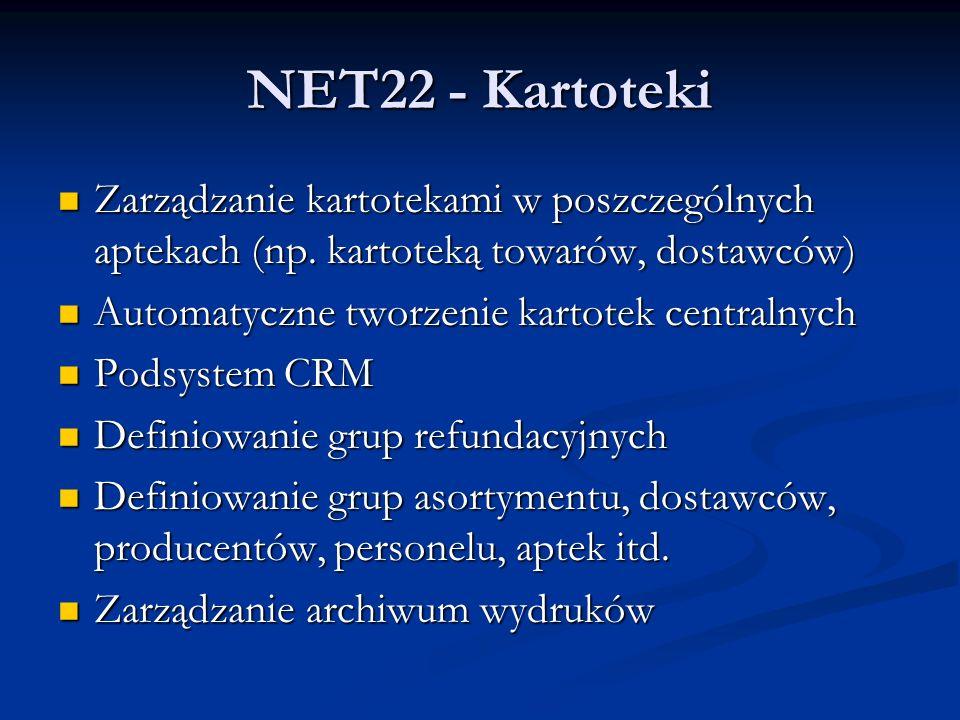 NET22 - Kartoteki Zarządzanie kartotekami w poszczególnych aptekach (np.