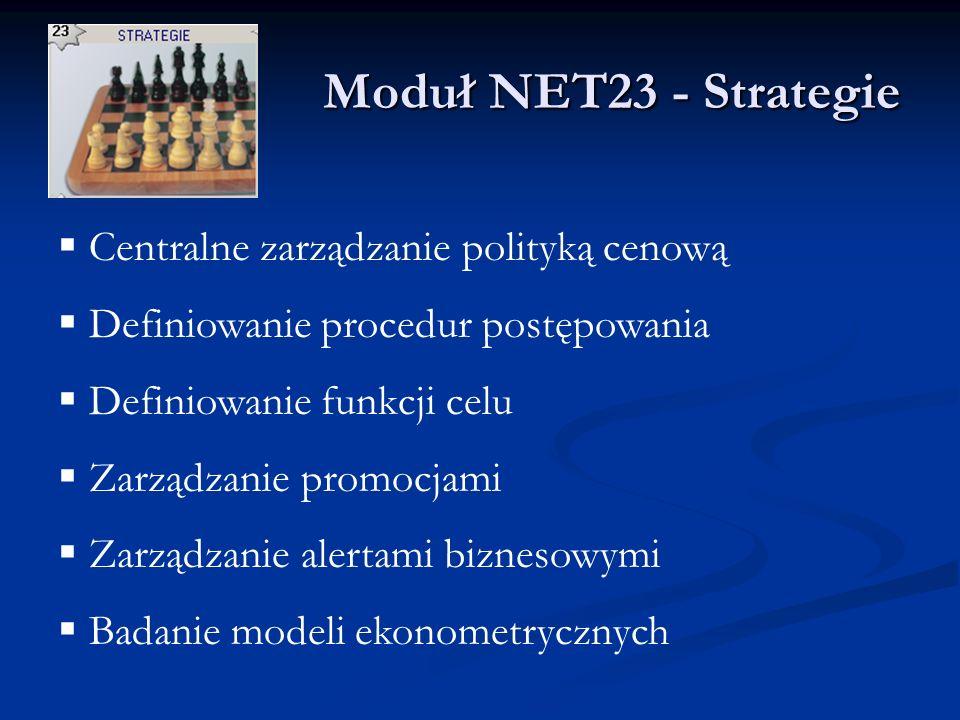 Moduł NET23 - Strategie Moduł NET23 - Strategie Centralne zarządzanie polityką cenową Definiowanie procedur postępowania Definiowanie funkcji celu Zarządzanie promocjami Zarządzanie alertami biznesowymi Badanie modeli ekonometrycznych