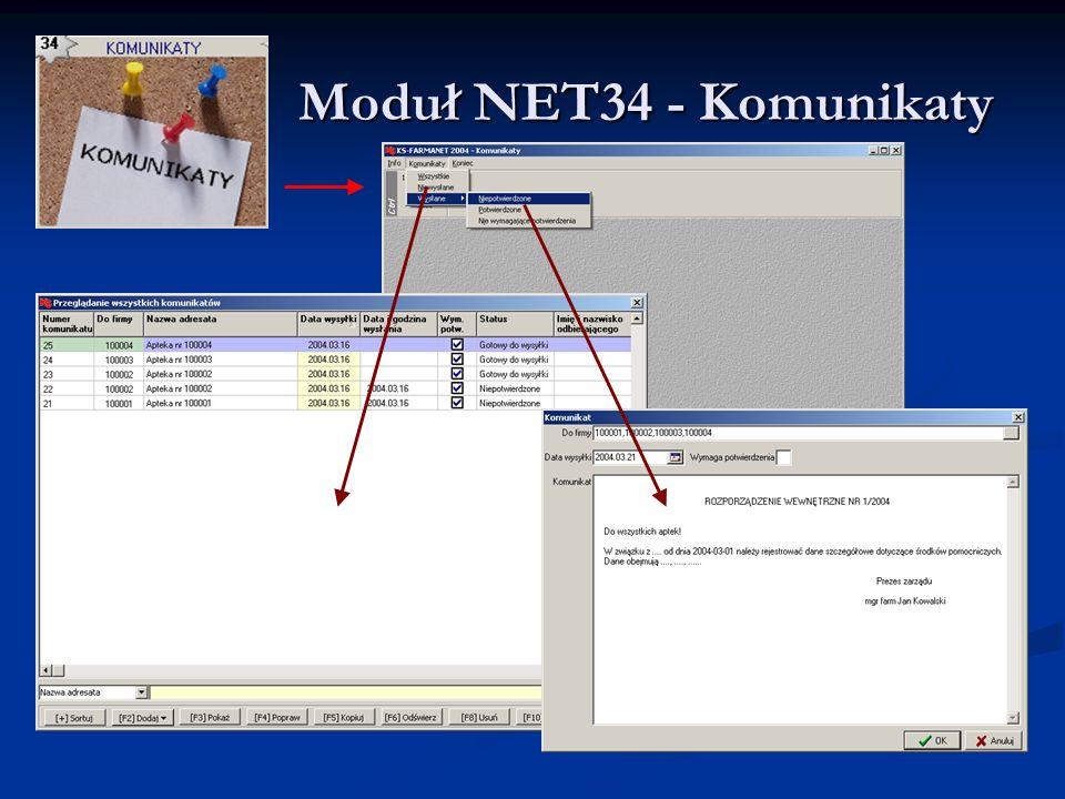 Moduł NET34 - Komunikaty Moduł NET34 - Komunikaty