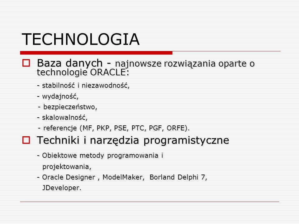 TECHNOLOGIA Baza danych - najnowsze rozwiązania oparte o technologie ORACLE: Baza danych - najnowsze rozwiązania oparte o technologie ORACLE: - stabil