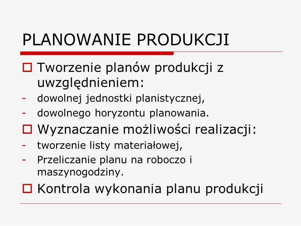STEROWANIE PRODUKCJĄ Generowanie zleceń produkcyjnych Powiązanie zleceń z zamówieniami Kontrola zapotrzebowania na: -surowce, -stanowiska robocze, -pracowników.