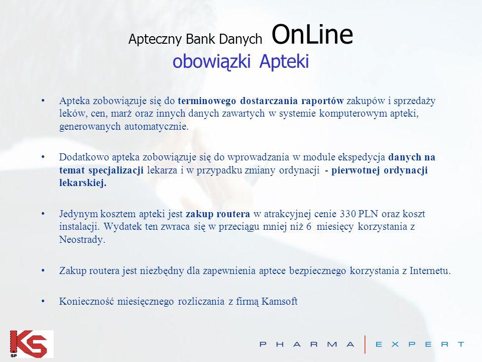 Apteczny Bank Danych OnLine korzyści Apteki Stały i bezpłatny dostęp do internetu. Szybki dostęp do zasobów informatycznych Kamsoft; natychmiastowa ak