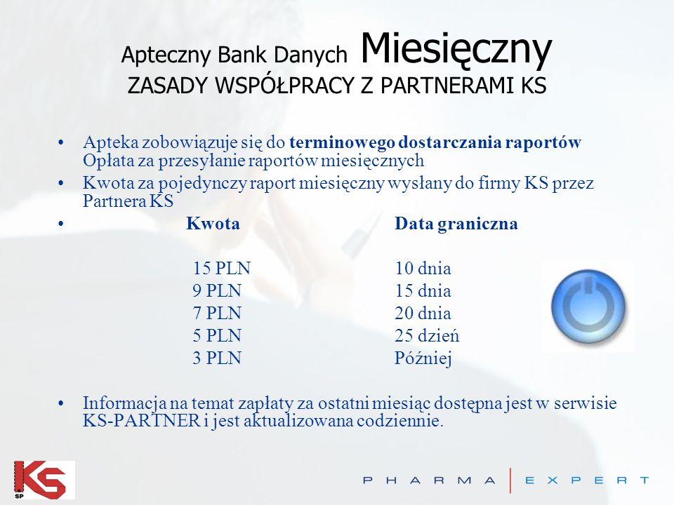 Apteczny Bank Danych OnLine ZASADY WSPÓŁPRACY Z PARTNERAMI KS Oferta Upust 100 zł –za każdą aptekę pozyskaną do projektu Raporty ON-LINE przewidywany