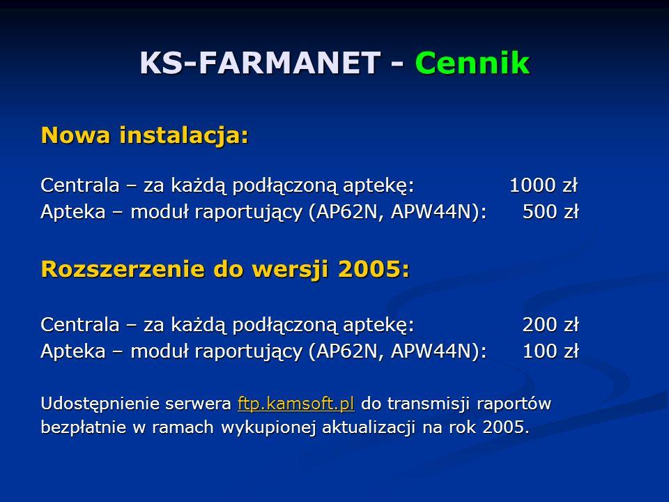 KS-FARMANET - Cennik Nowa instalacja: Centrala – za każdą podłączoną aptekę:1000 zł Apteka – moduł raportujący (AP62N, APW44N): 500 zł Rozszerzenie do