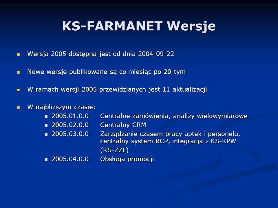 KS-FARMANET Wersje Wersja 2005 dostępna jest od dnia 2004-09-22 Wersja 2005 dostępna jest od dnia 2004-09-22 Nowe wersje publikowane są co miesiąc po