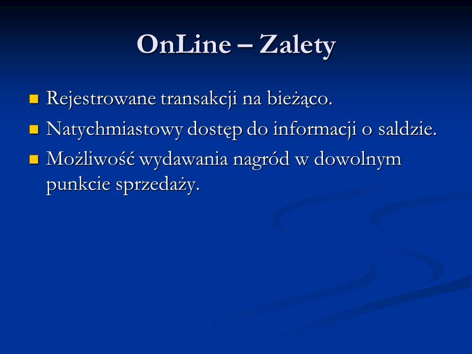 OnLine – Zalety Rejestrowane transakcji na bieżąco. Rejestrowane transakcji na bieżąco. Natychmiastowy dostęp do informacji o saldzie. Natychmiastowy