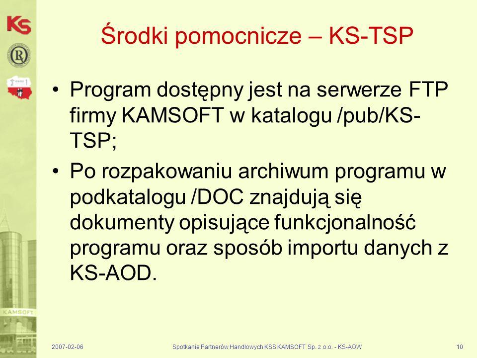 2007-02-06Spotkanie Partnerów Handlowych KSS KAMSOFT Sp. z o.o. - KS-AOW10 Środki pomocnicze – KS-TSP Program dostępny jest na serwerze FTP firmy KAMS