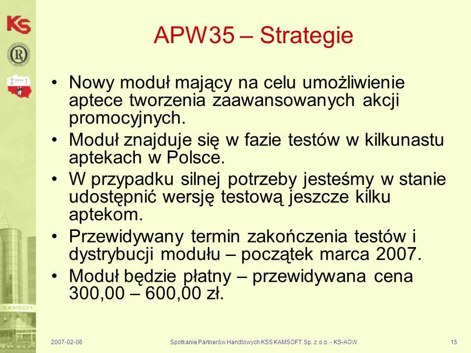 2007-02-06Spotkanie Partnerów Handlowych KSS KAMSOFT Sp. z o.o. - KS-AOW15 APW35 – Strategie Nowy moduł mający na celu umożliwienie aptece tworzenia z