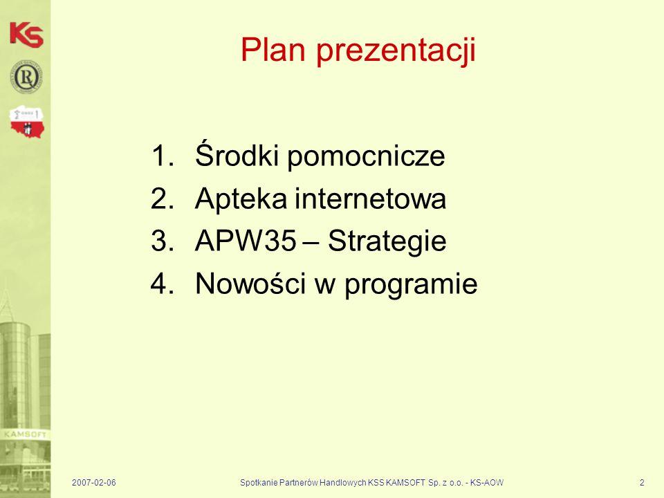 2007-02-06Spotkanie Partnerów Handlowych KSS KAMSOFT Sp. z o.o. - KS-AOW2 Plan prezentacji 1.Środki pomocnicze 2.Apteka internetowa 3.APW35 – Strategi