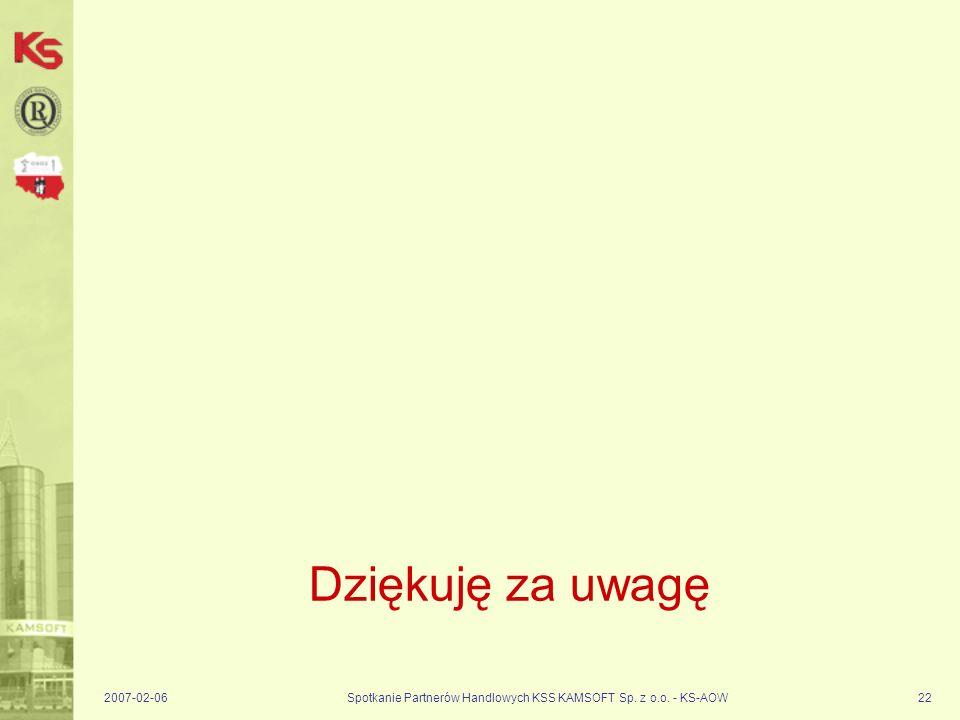 2007-02-06Spotkanie Partnerów Handlowych KSS KAMSOFT Sp. z o.o. - KS-AOW22 Dziękuję za uwagę