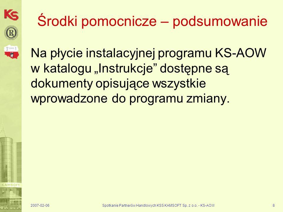 2007-02-06Spotkanie Partnerów Handlowych KSS KAMSOFT Sp. z o.o. - KS-AOW8 Środki pomocnicze – podsumowanie Na płycie instalacyjnej programu KS-AOW w k