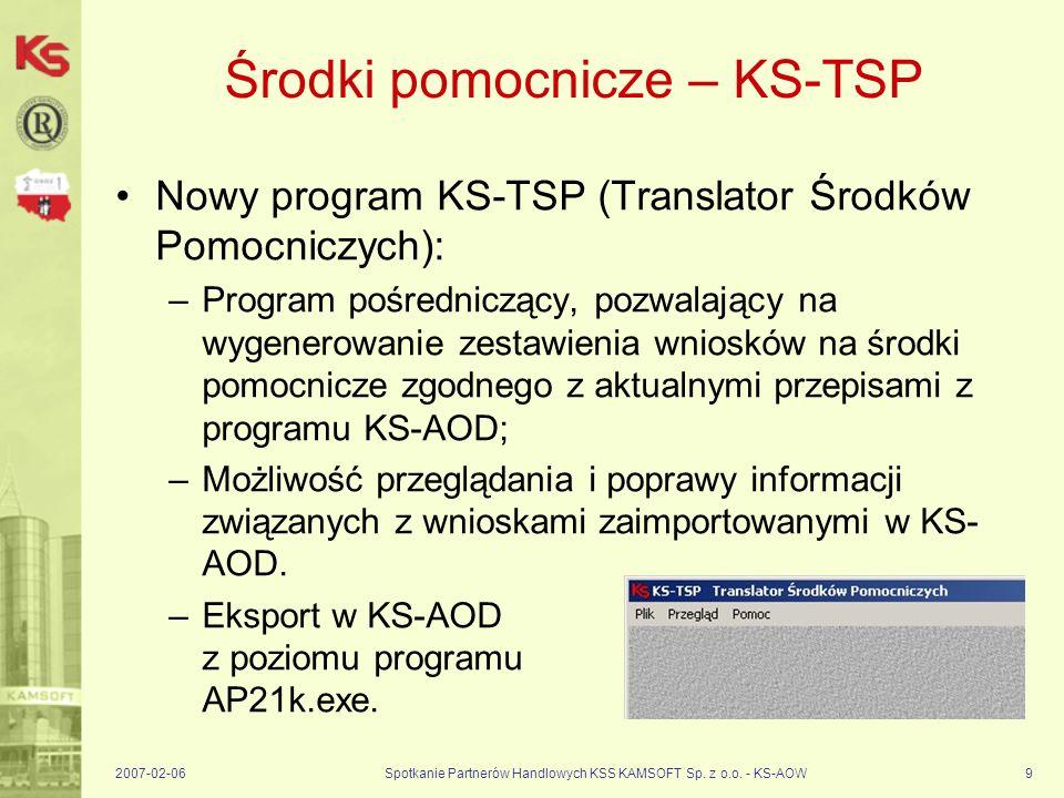 2007-02-06Spotkanie Partnerów Handlowych KSS KAMSOFT Sp. z o.o. - KS-AOW9 Środki pomocnicze – KS-TSP Nowy program KS-TSP (Translator Środków Pomocnicz