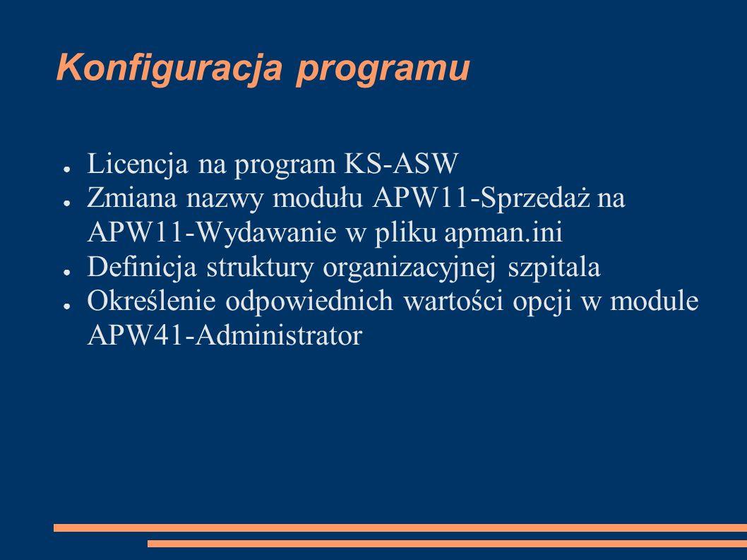 Konfiguracja programu Licencja na program KS-ASW Zmiana nazwy modułu APW11-Sprzedaż na APW11-Wydawanie w pliku apman.ini Definicja struktury organizacyjnej szpitala Określenie odpowiednich wartości opcji w module APW41-Administrator