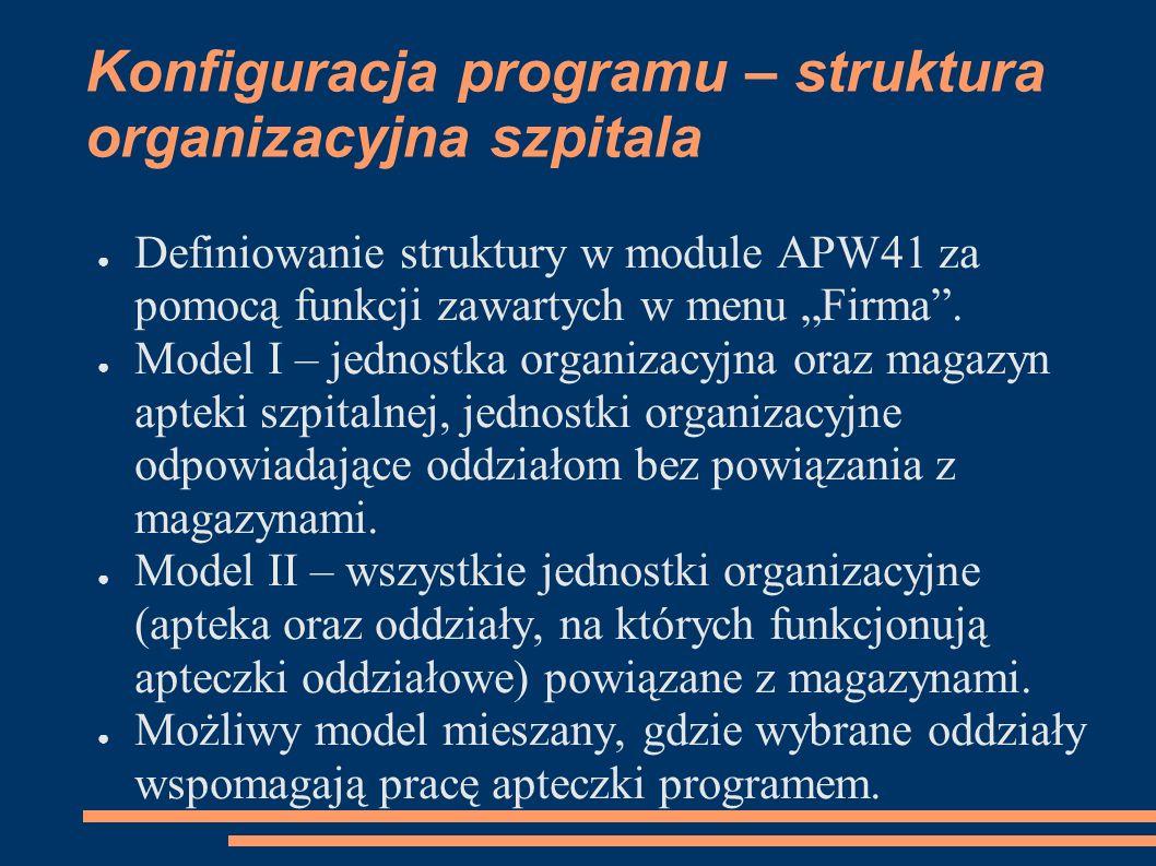Konfiguracja programu – struktura organizacyjna szpitala Definiowanie struktury w module APW41 za pomocą funkcji zawartych w menu Firma.
