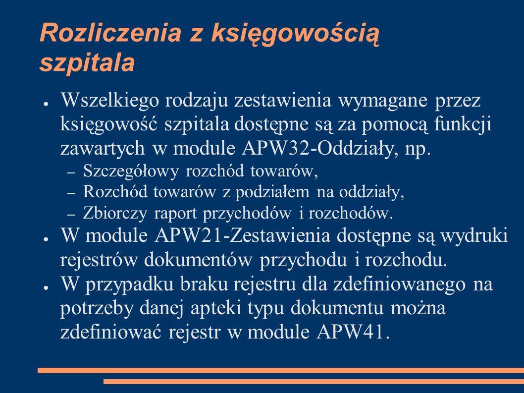 Rozliczenia z księgowością szpitala Wszelkiego rodzaju zestawienia wymagane przez księgowość szpitala dostępne są za pomocą funkcji zawartych w module APW32-Oddziały, np.