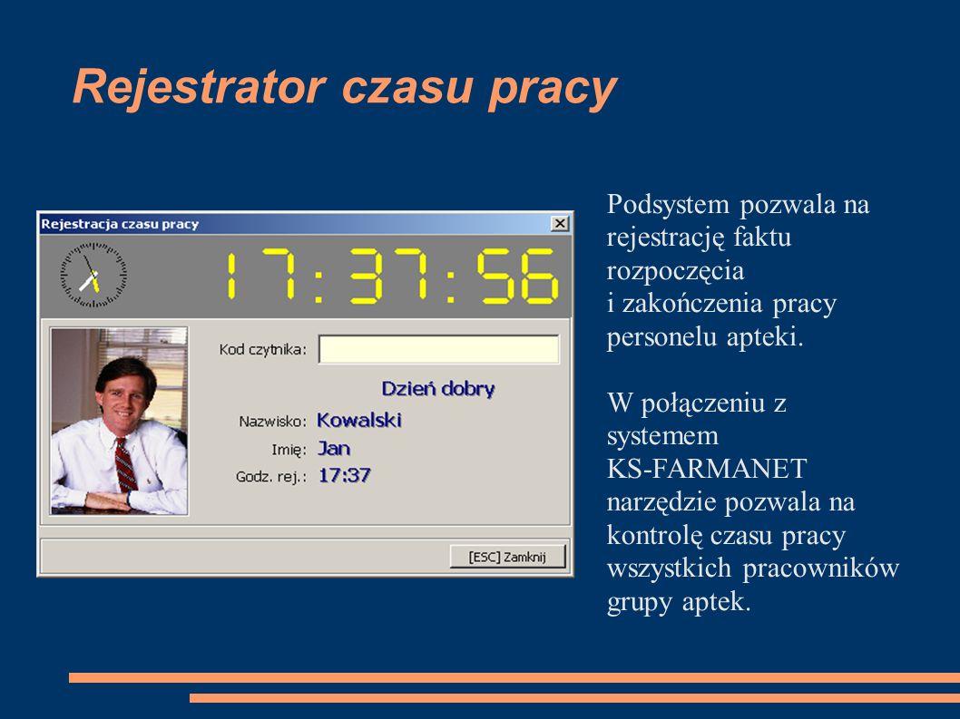 Rejestrator czasu pracy Podsystem pozwala na rejestrację faktu rozpoczęcia i zakończenia pracy personelu apteki.