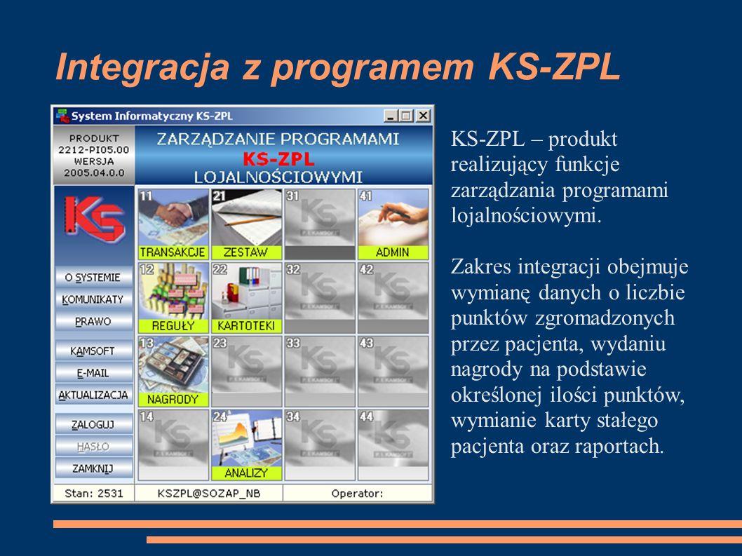 Integracja z programem KS-ZPL KS-ZPL – produkt realizujący funkcje zarządzania programami lojalnościowymi.