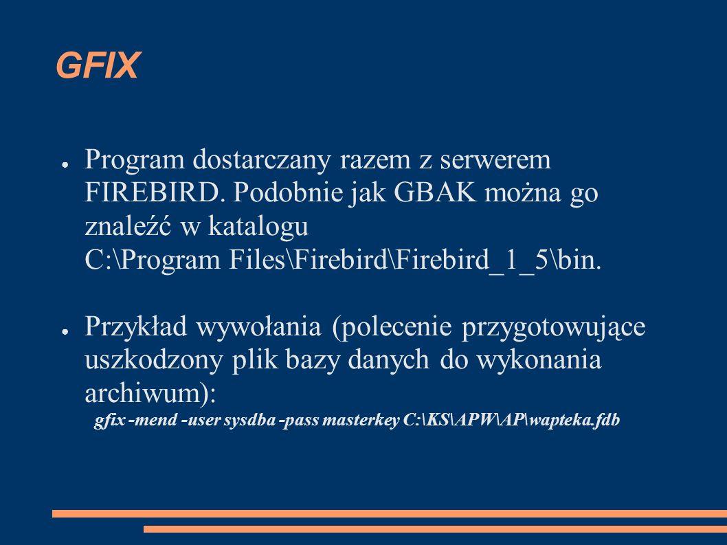 GFIX Program dostarczany razem z serwerem FIREBIRD.