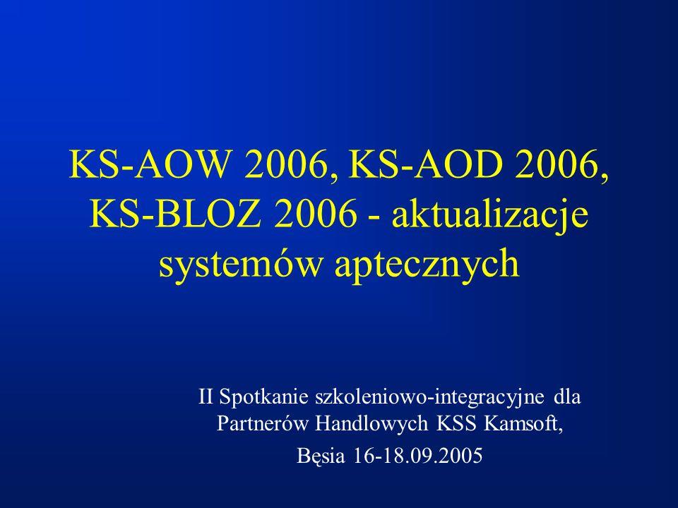 KS-AOW 2006, KS-AOD 2006, KS-BLOZ 2006 - aktualizacje systemów aptecznych II Spotkanie szkoleniowo-integracyjne dla Partnerów Handlowych KSS Kamsoft,