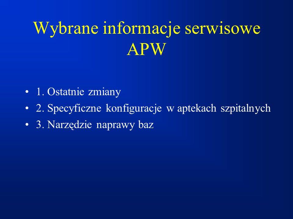 Wybrane informacje serwisowe APW 1. Ostatnie zmiany 2. Specyficzne konfiguracje w aptekach szpitalnych 3. Narzędzie naprawy baz