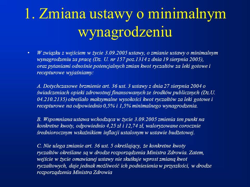 1. Zmiana ustawy o minimalnym wynagrodzeniu W związku z wejściem w życie 3.09.2005 ustawy, o zmianie ustawy o minimalnym wynagrodzeniu za pracę (Dz. U