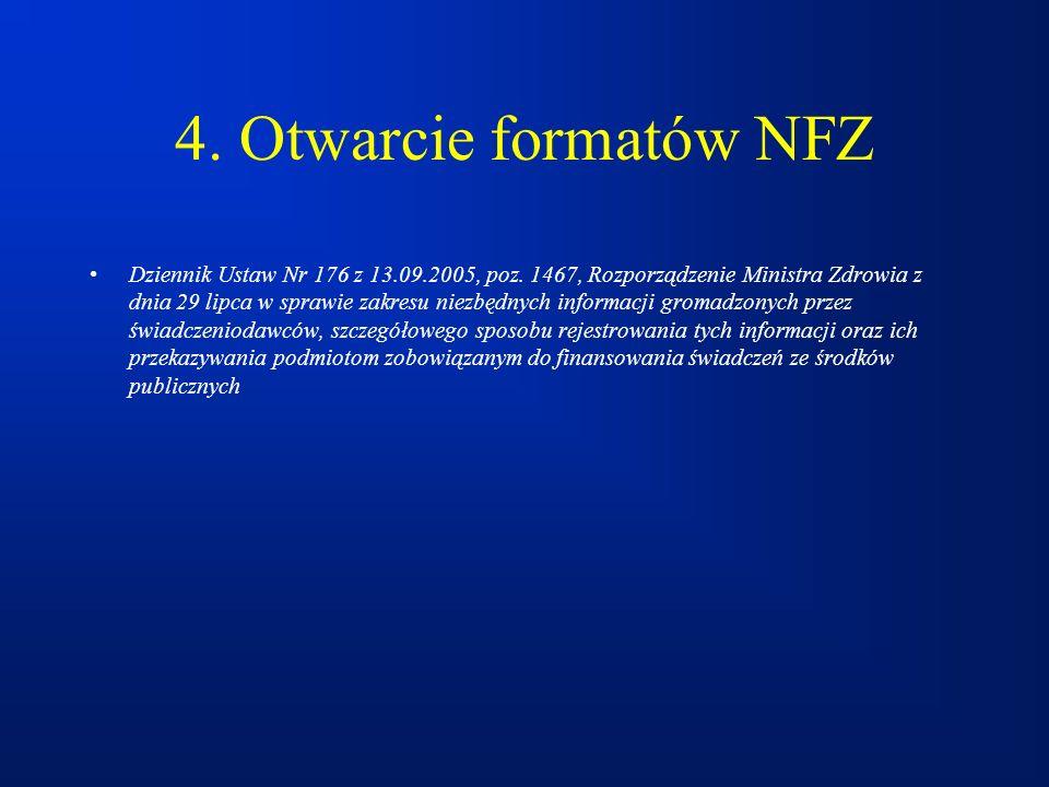 4. Otwarcie formatów NFZ Dziennik Ustaw Nr 176 z 13.09.2005, poz. 1467, Rozporządzenie Ministra Zdrowia z dnia 29 lipca w sprawie zakresu niezbędnych