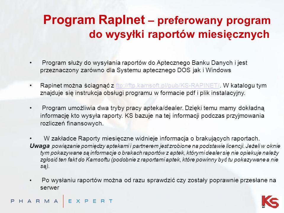Program RapInet – preferowany program do wysyłki raportów miesięcznych Program służy do wysyłania raportów do Aptecznego Banku Danych i jest przeznaczony zarówno dla Systemu aptecznego DOS jak i Windows Rapinet można ściągnąć z ftp://ftp.kamsoft.pl/pub/KS-RAPINET/.