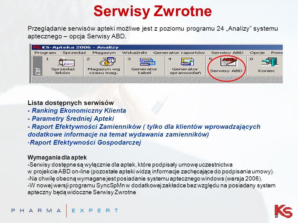Serwisy Zwrotne Przeglądanie serwisów apteki możliwe jest z poziomu programu 24 Analizy systemu aptecznego – opcja Serwisy ABD. Lista dostępnych serwi
