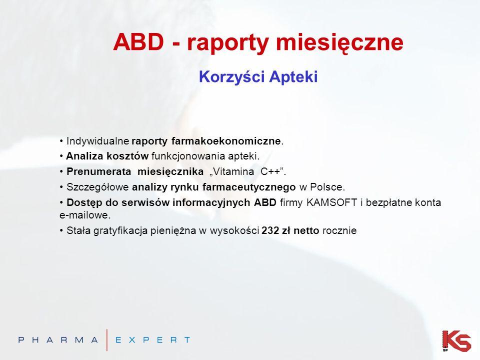 ABD - raporty miesięczne Korzyści Apteki Indywidualne raporty farmakoekonomiczne. Analiza kosztów funkcjonowania apteki. Prenumerata miesięcznika Vita