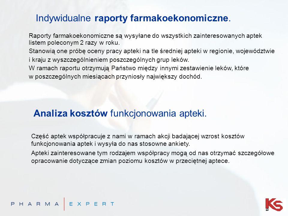 Indywidualne raporty farmakoekonomiczne. Raporty farmakoekonomiczne są wysyłane do wszystkich zainteresowanych aptek listem poleconym 2 razy w roku. S