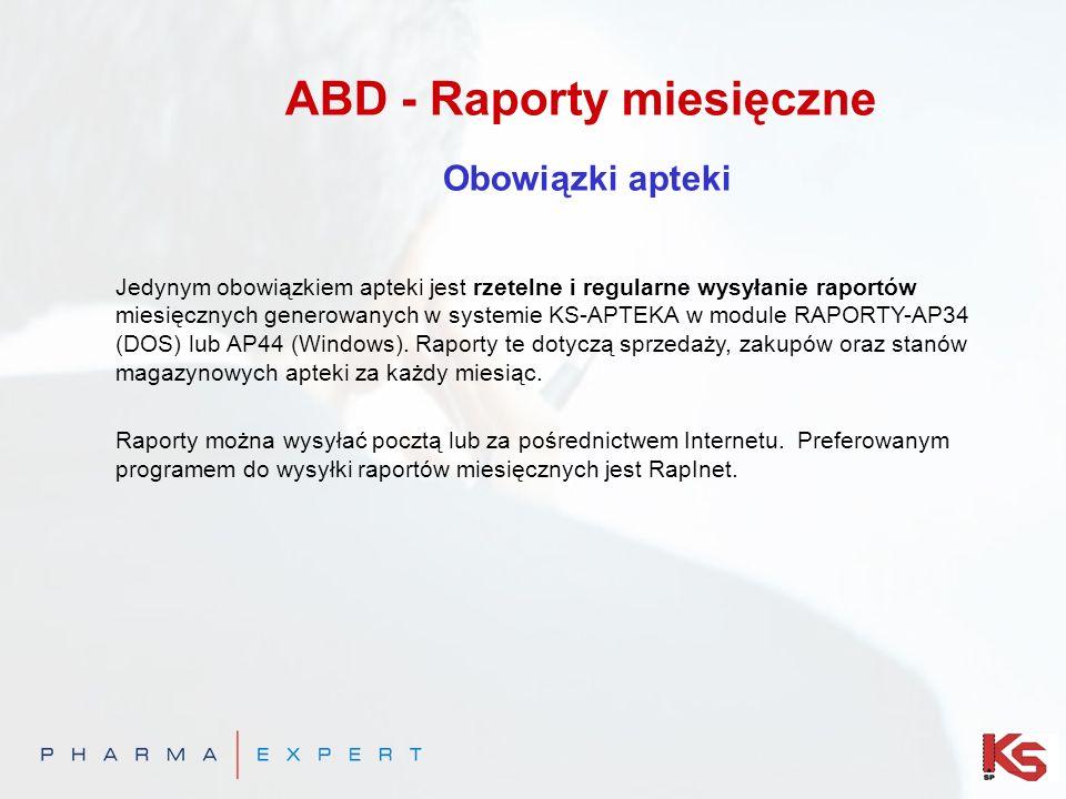 Jedynym obowiązkiem apteki jest rzetelne i regularne wysyłanie raportów miesięcznych generowanych w systemie KS-APTEKA w module RAPORTY-AP34 (DOS) lub AP44 (Windows).