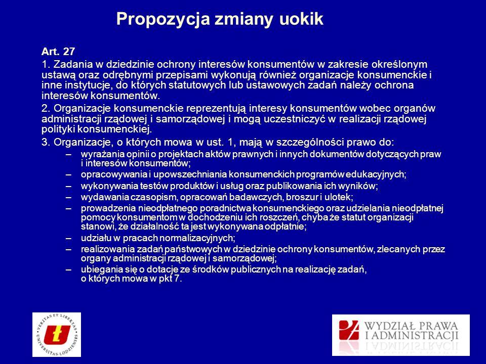 Propozycja zmiany uokik Art. 27 1. Zadania w dziedzinie ochrony interesów konsumentów w zakresie określonym ustawą oraz odrębnymi przepisami wykonują