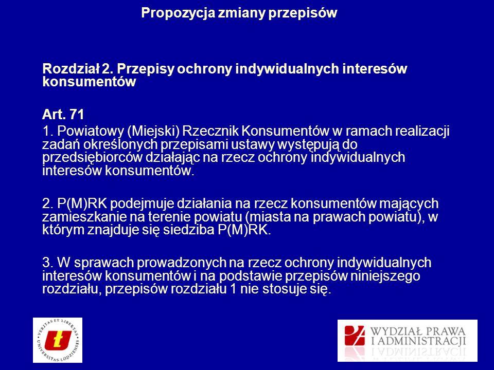 Propozycja zmiany przepisów Rozdział 2. Przepisy ochrony indywidualnych interesów konsumentów Art. 71 1. Powiatowy (Miejski) Rzecznik Konsumentów w ra