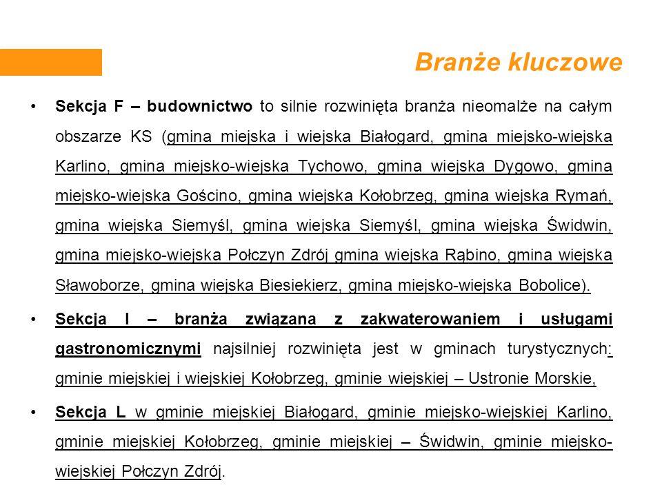 Branże kluczowe Sekcja F – budownictwo to silnie rozwinięta branża nieomalże na całym obszarze KS (gmina miejska i wiejska Białogard, gmina miejsko-wi