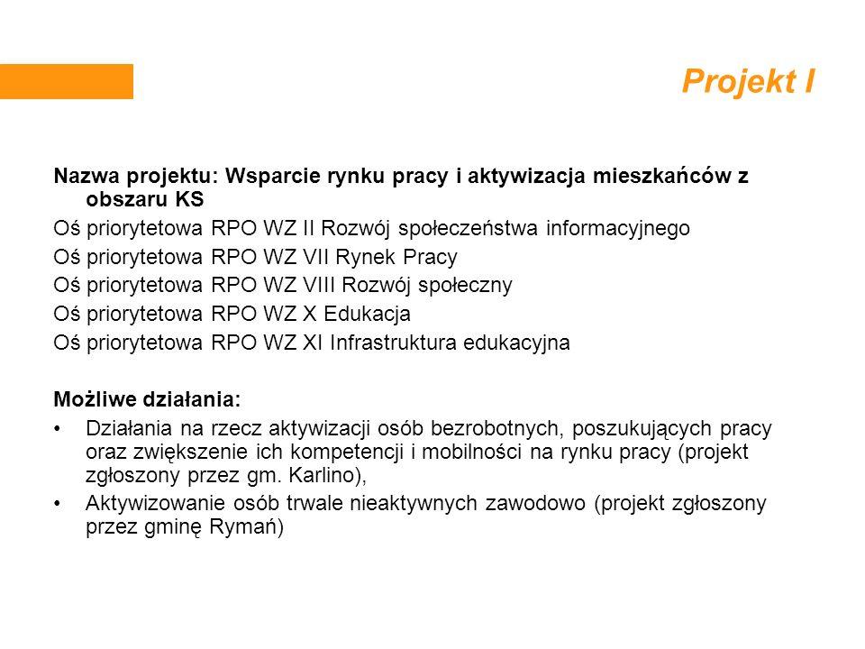 Projekt I Nazwa projektu: Wsparcie rynku pracy i aktywizacja mieszkańców z obszaru KS Oś priorytetowa RPO WZ II Rozwój społeczeństwa informacyjnego Oś