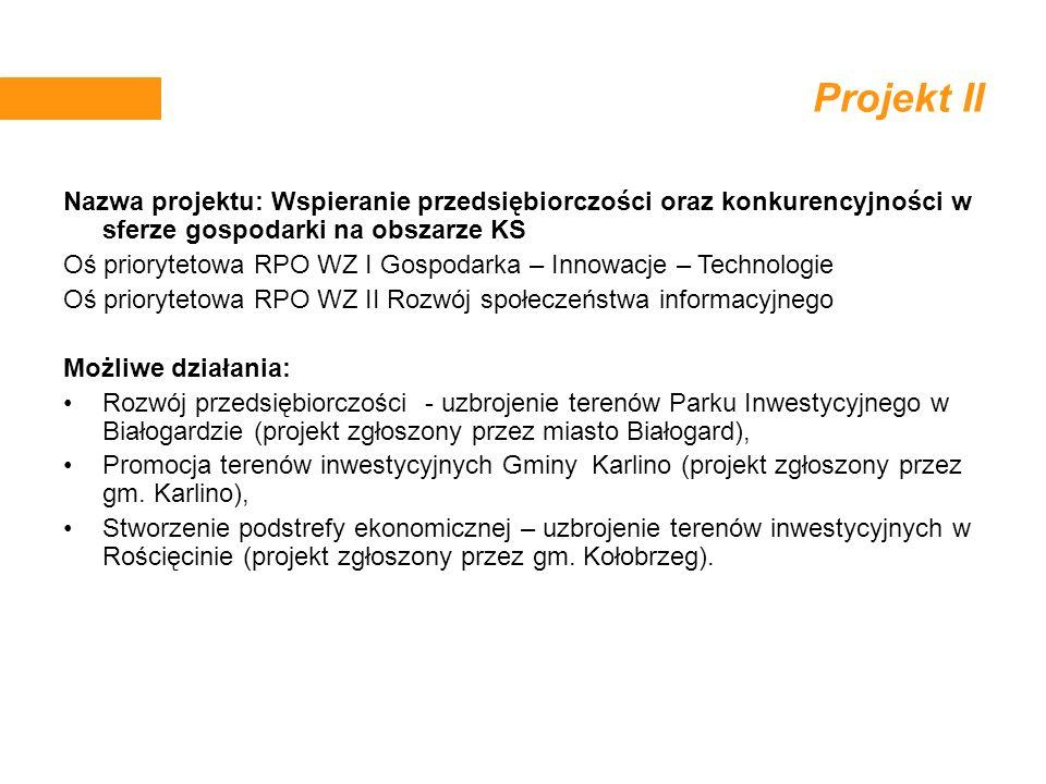 Projekt II Nazwa projektu: Wspieranie przedsiębiorczości oraz konkurencyjności w sferze gospodarki na obszarze KS Oś priorytetowa RPO WZ I Gospodarka