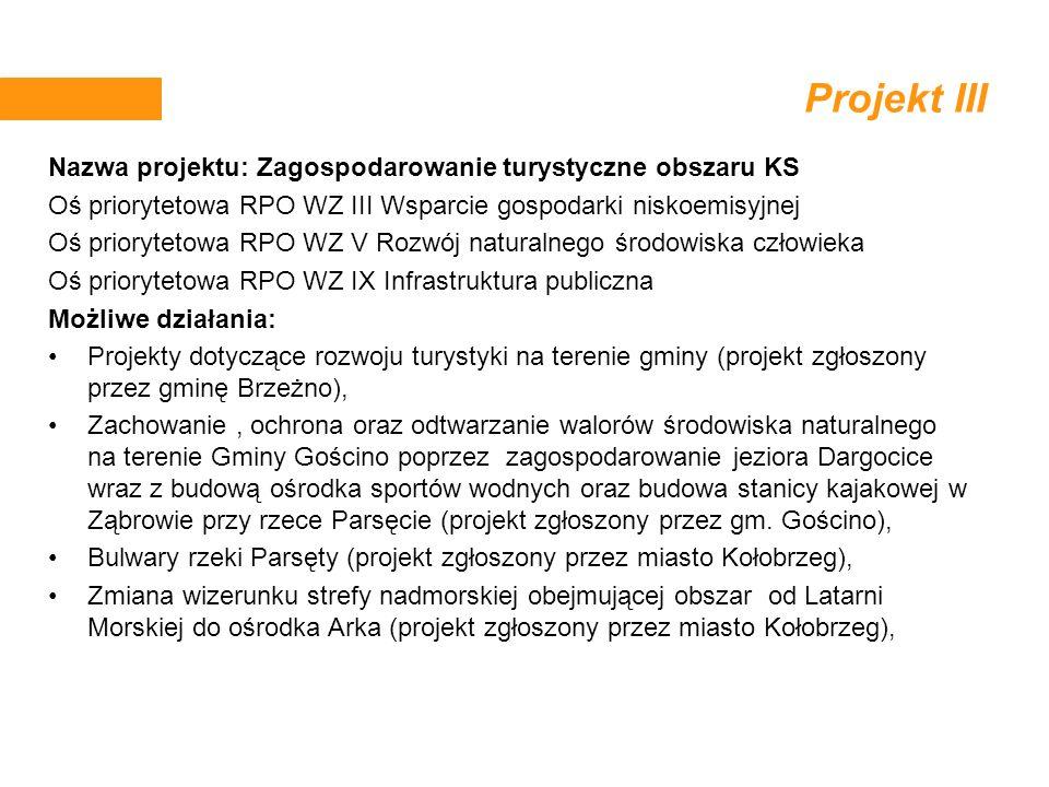 Projekt III Nazwa projektu: Zagospodarowanie turystyczne obszaru KS Oś priorytetowa RPO WZ III Wsparcie gospodarki niskoemisyjnej Oś priorytetowa RPO
