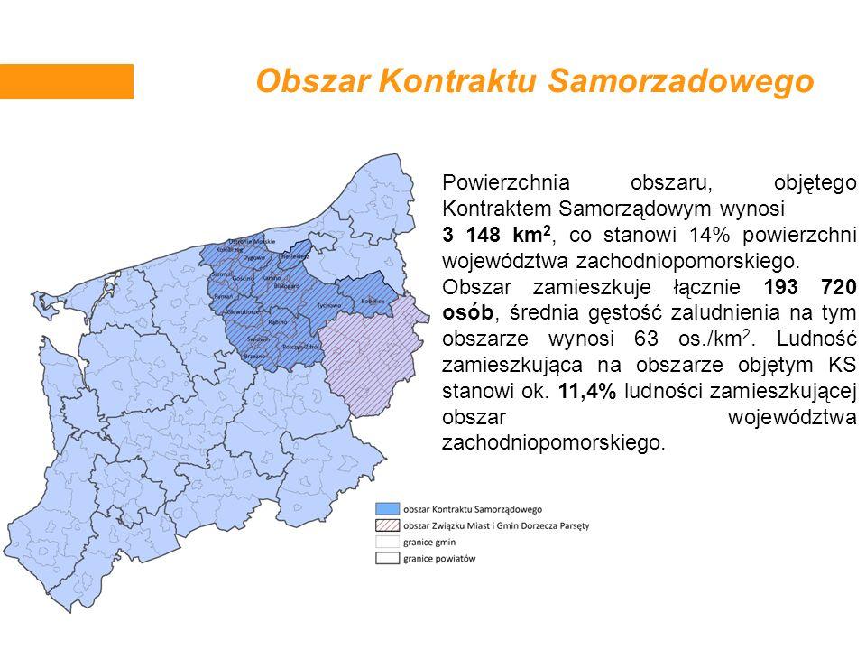 Obszar Kontraktu Samorzadowego Powierzchnia obszaru, objętego Kontraktem Samorządowym wynosi 3 148 km 2, co stanowi 14% powierzchni województwa zachod