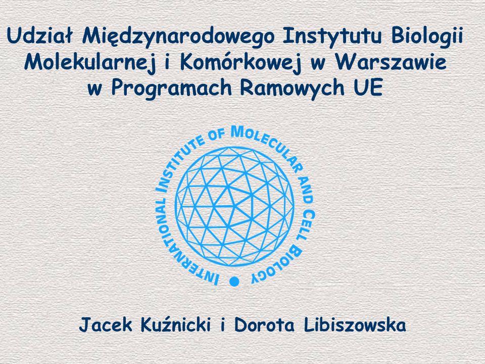 Centrum Doskonałości J Kuźnicki 350 000 EUR 2003–06 Cell Chip – koordynacja J Dastych 231 703 EUR 2001-03 ANTISTAPH M Bochtler 238 382 EUR 2002–06 REFLAX L Rychlewski 149 000 EUR 2001-03 Chaperones M Żylicz 64 776 EUR 2003–04 CF-Network M Witt 9 600 EUR 2002–03 CEEBT J Bryk (SFN) 23 430 EUR 2004 7 projektów w 5 PR Ok.