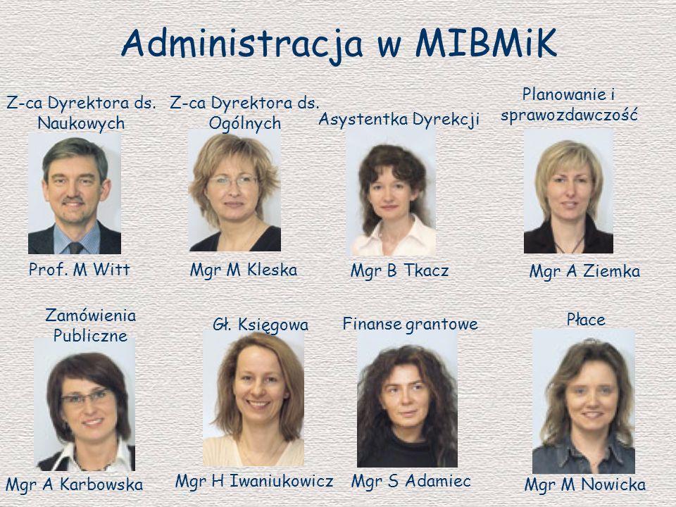 Administracja w MIBMiK Z-ca Dyrektora ds. Naukowych Prof. M Witt Mgr M Kleska Z-ca Dyrektora ds. Ogólnych Mgr B Tkacz Asystentka Dyrekcji Mgr A Ziemka