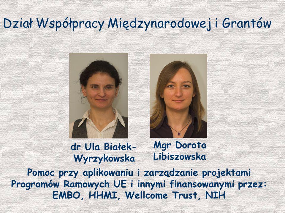 Dział Współpracy Międzynarodowej i Grantów dr Ula Białek- Wyrzykowska Mgr Dorota Libiszowska Pomoc przy aplikowaniu i zarządzanie projektami Programów