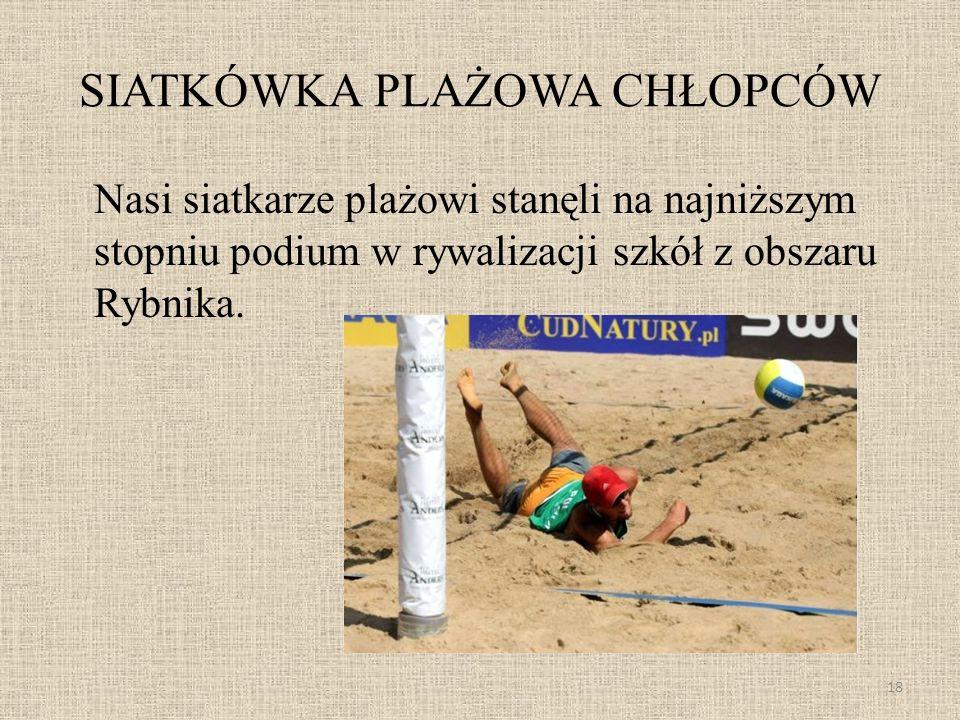 SIATKÓWKA PLAŻOWA CHŁOPCÓW Nasi siatkarze plażowi stanęli na najniższym stopniu podium w rywalizacji szkół z obszaru Rybnika. 18