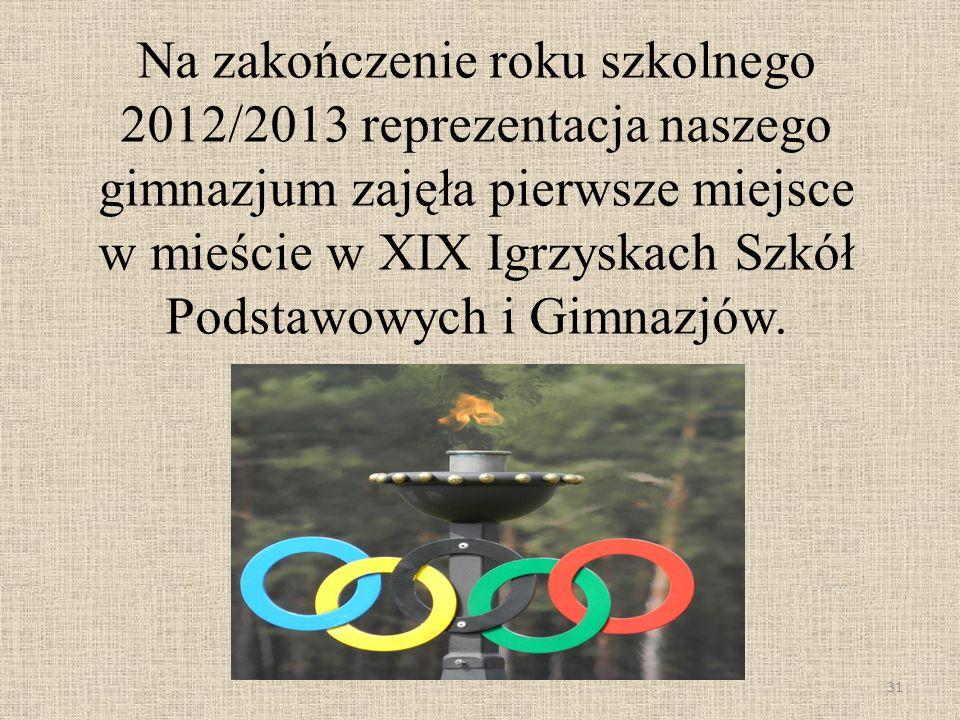 Na zakończenie roku szkolnego 2012/2013 reprezentacja naszego gimnazjum zajęła pierwsze miejsce w mieście w XIX Igrzyskach Szkół Podstawowych i Gimnaz